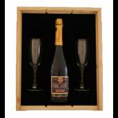 Champagne pakket met 2 glazen in luxe houten kist met schuifdeksel